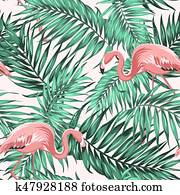 Green tropical jungle leaves ping flamingo couple