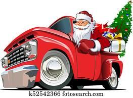 karikatur, früher, weihnachten, abholen