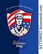 Veterans Day Modern Soldier Greeting Card Retro