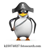 3d Pirate penguin with cutlass