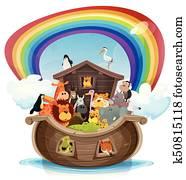 Noah's Ark With Rainbow
