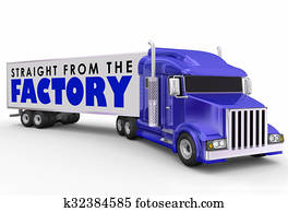 Straight from the Factory Truck Trailer Delivering Products Direct Shipments