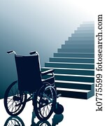 Wheelchair and stairs, vector