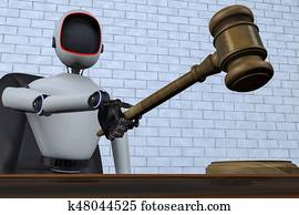 a robot judge makes a judgment