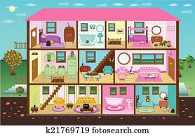 Doll House Clip Art Royalty Free 509 Doll House Clipart Vector Eps