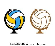 erdball, volleyball., welt, game., sport, zubeh?rteil, als, erde, sphere., bereich, von, spiel, volleyball