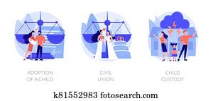 Family law abstract concept vector illustrations.