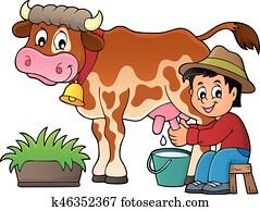 Farmer milking cow image 1