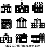 Government buildings black and white icons