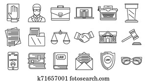 Lawyer justice icons set, outline style