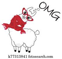 llama in red glasses and scarf