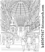 Sketch of the shopping gallery