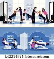 Beauty Salon Colorful Composition