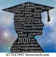 boy 2020 graduate silhouette with word cloud