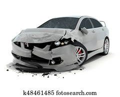 Car accident on white background