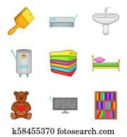 Domestic icons set, cartoon style