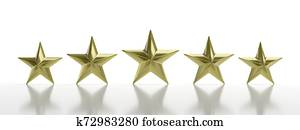 Five golden stars isolated against white, rating concept. 3d illustration