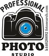 photographie, und, fotostudio, symbol, emblem, design
