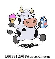 Running cow holding ice cream and milk