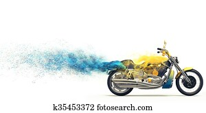 Yellow heavy bike - blue particles