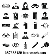 Doctor eye examination icons set, simple style