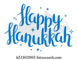 Happy Hanukkah celebration holiday card with lettering