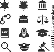Justice, law, police vector icons