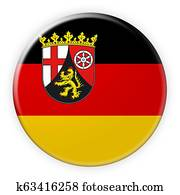 Rhineland-Palatinate Flag Badge, 3d illustration on white background
