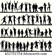 Silhouettes of women and men outdoor