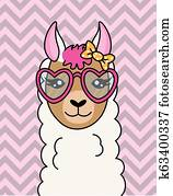cute llama with sunglasses