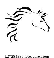 vektor, zeichnung, pferd
