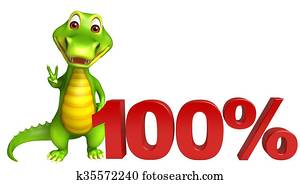 cute Aligator cartoon character with 100% sign