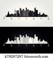 Pattaya skyline and landmarks silhouette