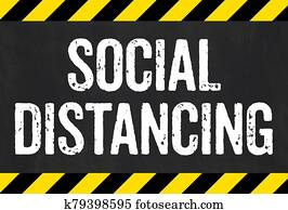 Sign with caution stripes - Social distancing