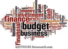 budget, wort, wolke