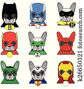 French Bulldog heroes icons