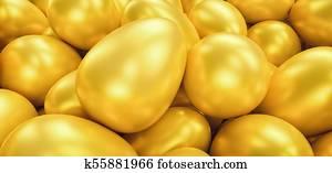 golden eggs, including copy space - 3D Rendering