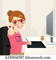 Hipster Graphic Designer Woman Working