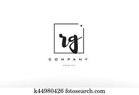 Clip Art Of Rf R F White Letter Logo Design With Black Square