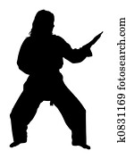 Silhouette With Clipping Path of Martial Arts Woman