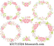 Vector Set of Floral Wreaths and Bouquets