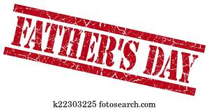 fathers day red grungy stamp isolated on white background