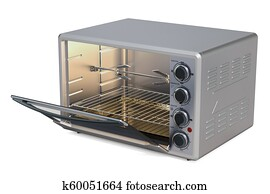 Opened Convection Toaster Oven with Rotisserie and Grill, 3D rendering