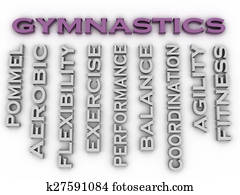 3d image Gymnastics issues concept word cloud background