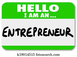 Entrepreneur name tag to introduce you as a self employed business owner networking to learn tips and information about managing your company