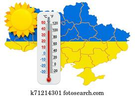 Heat in Ukraine concept. 3D rendering