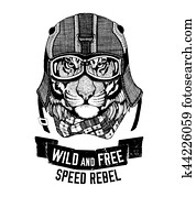 Wild tiger Wild cat Be wild and free T-shirt emblem, template Biker, motorcycle design Hand drawn illustration