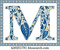 Blue letter M