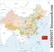 Colorful Vector Map of China