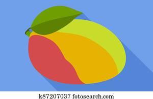 Mango fruit icon, flat style